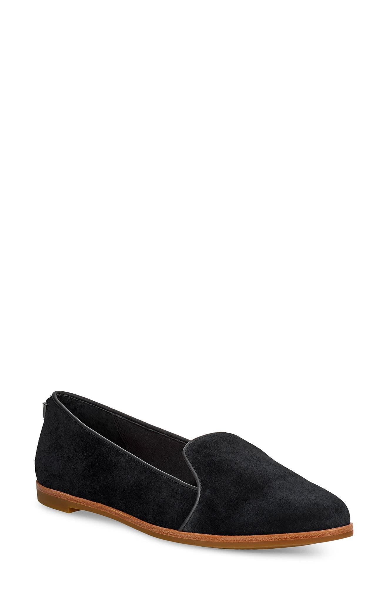 ,                             Bonnie Loafer Flat,                             Main thumbnail 1, color,                             BLACK SUEDE