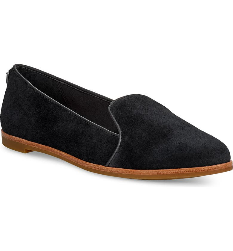 UGG<SUP>®</SUP> Bonnie Loafer Flat, Main, color, BLACK SUEDE
