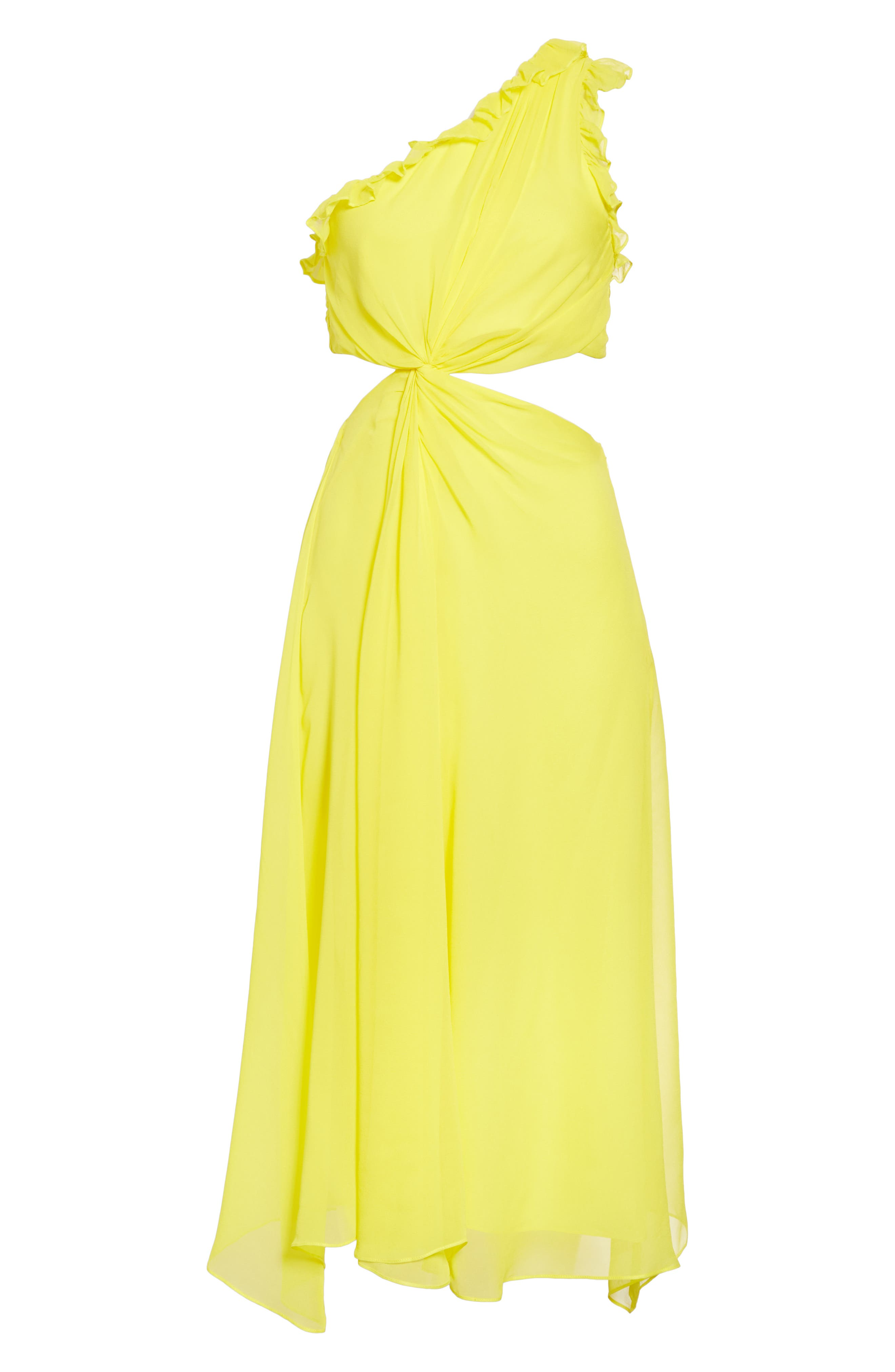 ,                             Corinne One-Shoulder Silk Dress,                             Alternate thumbnail 6, color,                             BLAZING YELLOW