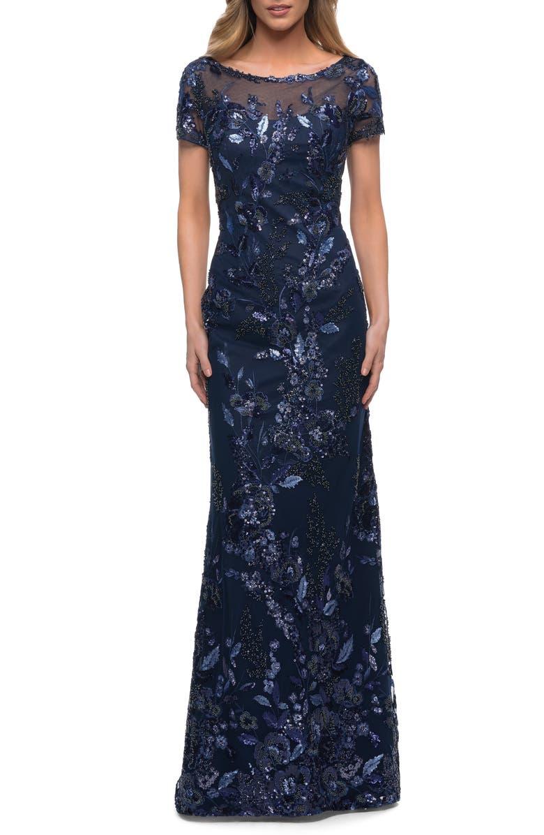 LA FEMME Sequin Floral Short Sleeve Sheath Gown, Main, color, NAVY