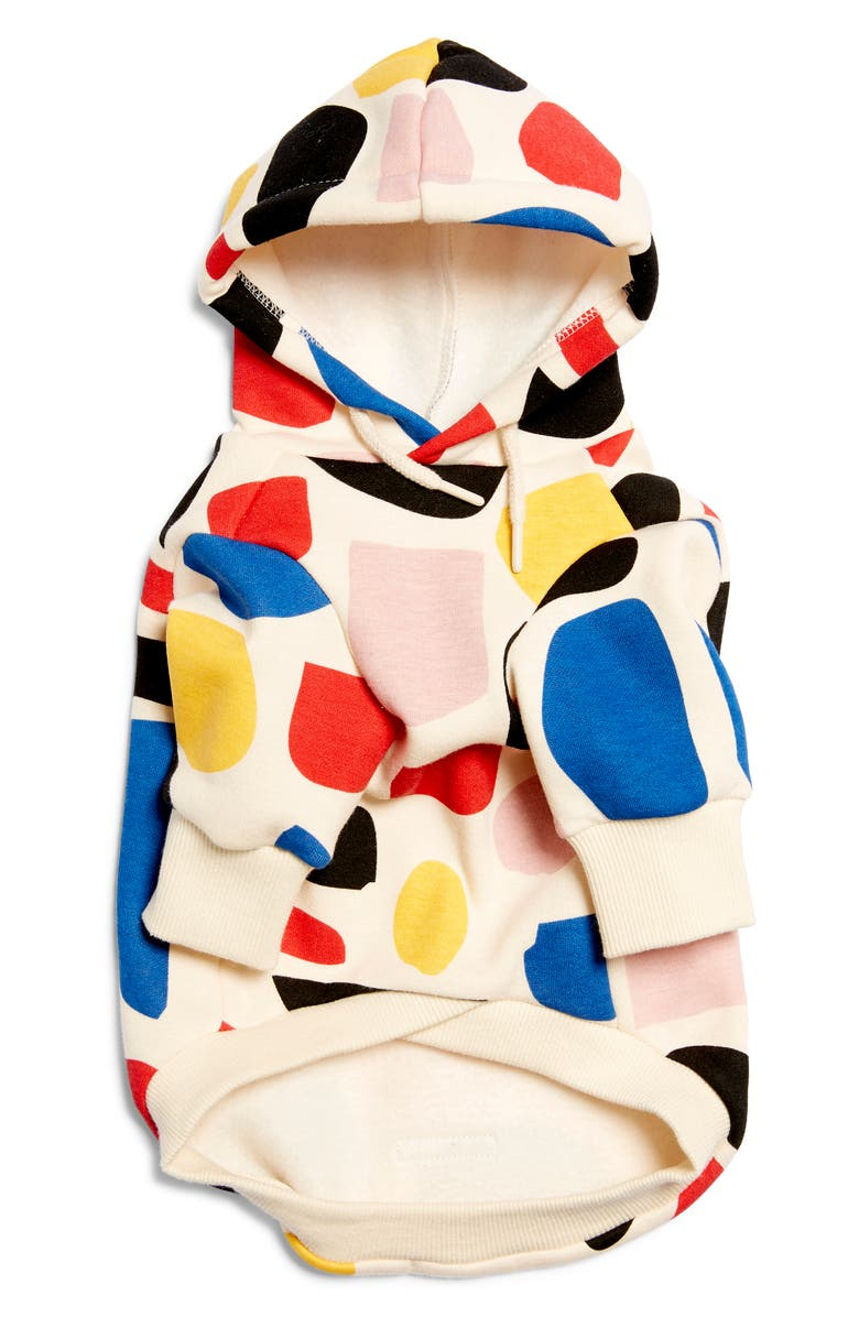 HUTS AND BAY Abstract Dog Hoodie, Main, color, BLUE/ CREAM/ RED/ BLACK