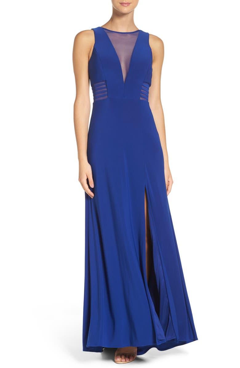 MORGAN & CO. Illusion Panel A-Line Gown, Main, color, COBALT