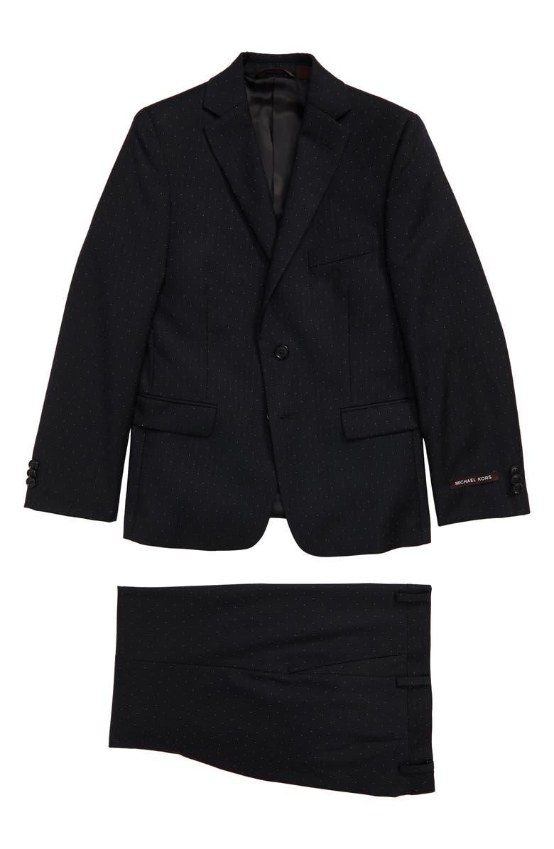 MICHAEL KORS Micro Dot Wool Blend Suit, Main, color, 001