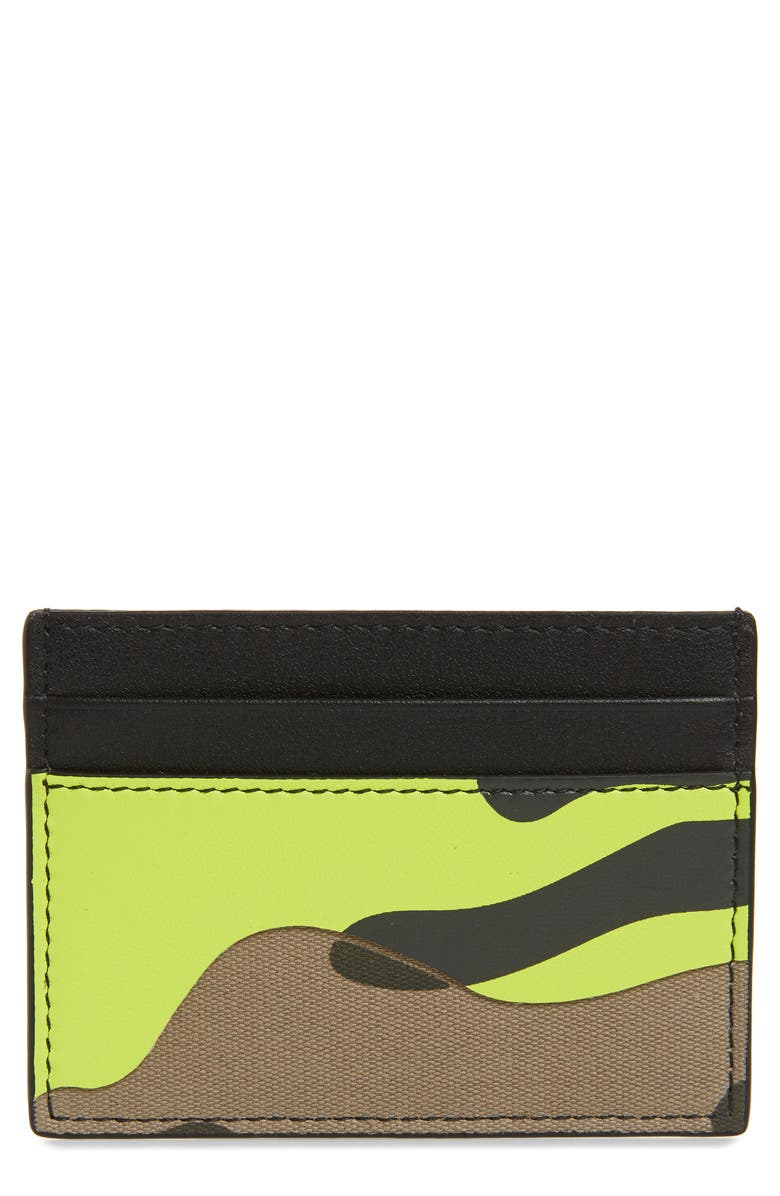 VALENTINO Camo Card Case, Main, color, LIME/ ARMY