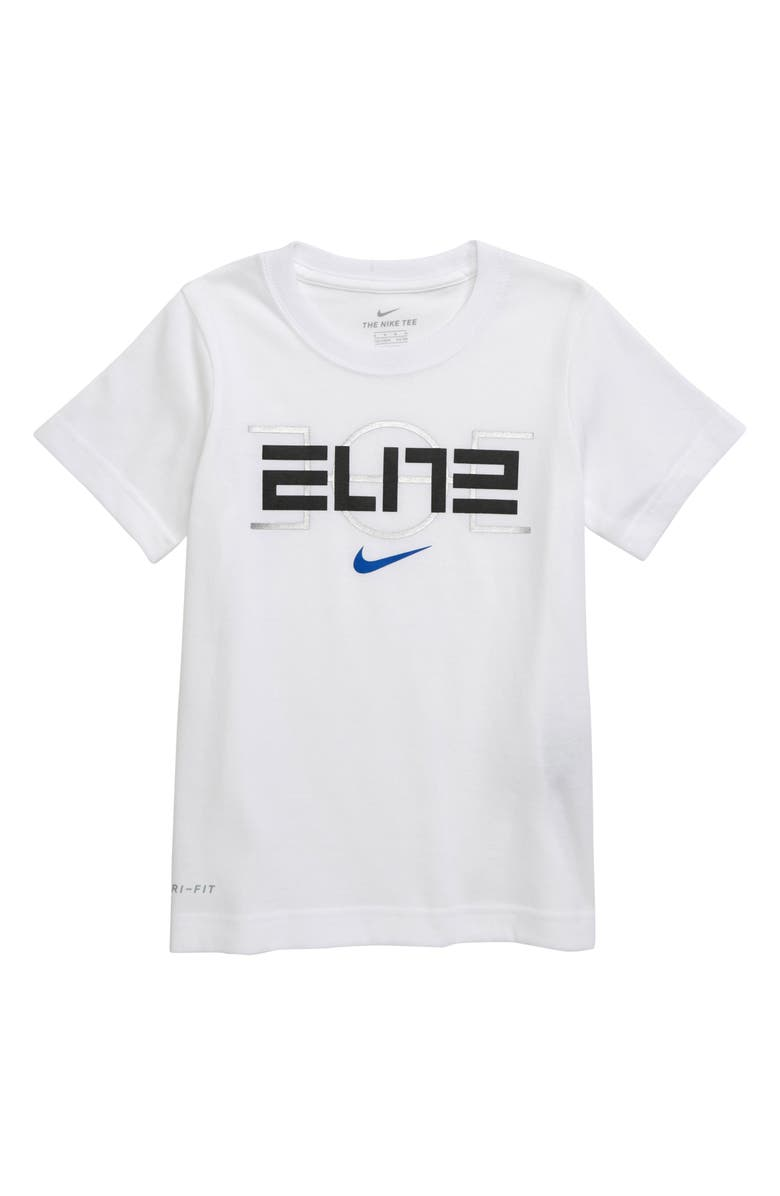 NIKE Dri-FIT Elite Court T-Shirt, Main, color, WHITE