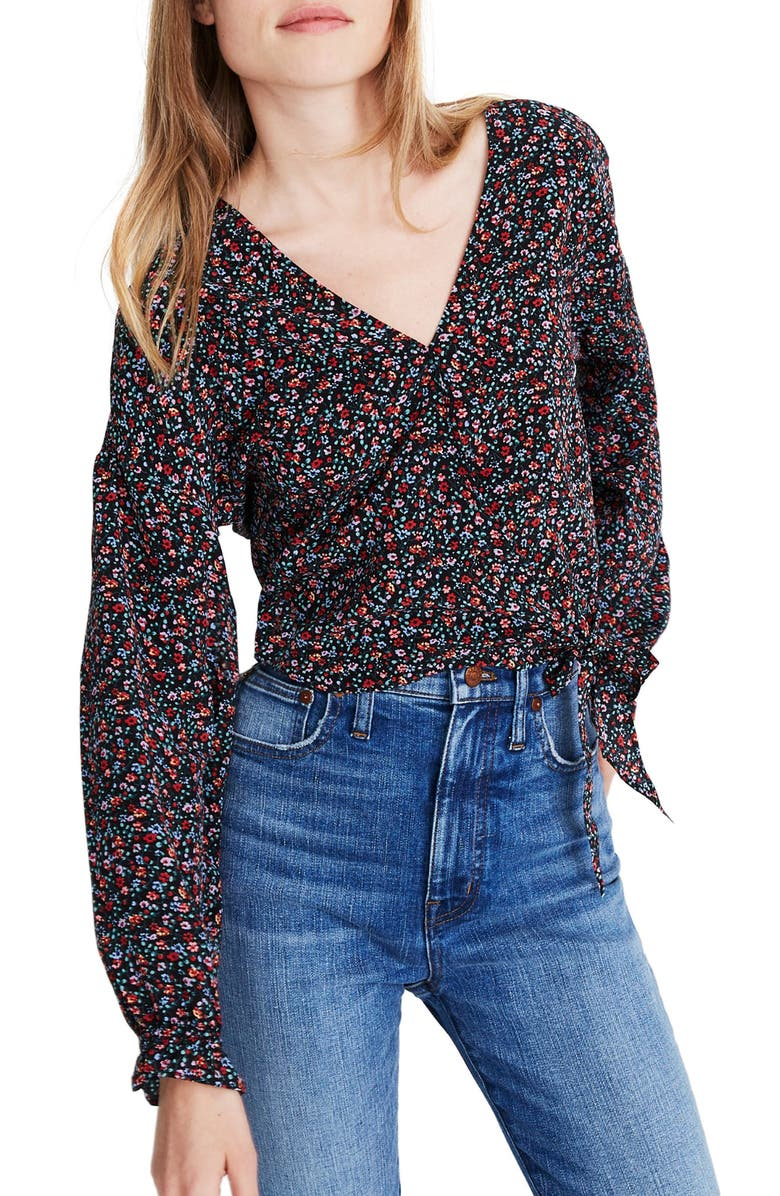 MADEWELL Long Sleeve Sash Tie Silk Wrap Top, Main, color, FIELD FLORAL PRESSED ORCHID