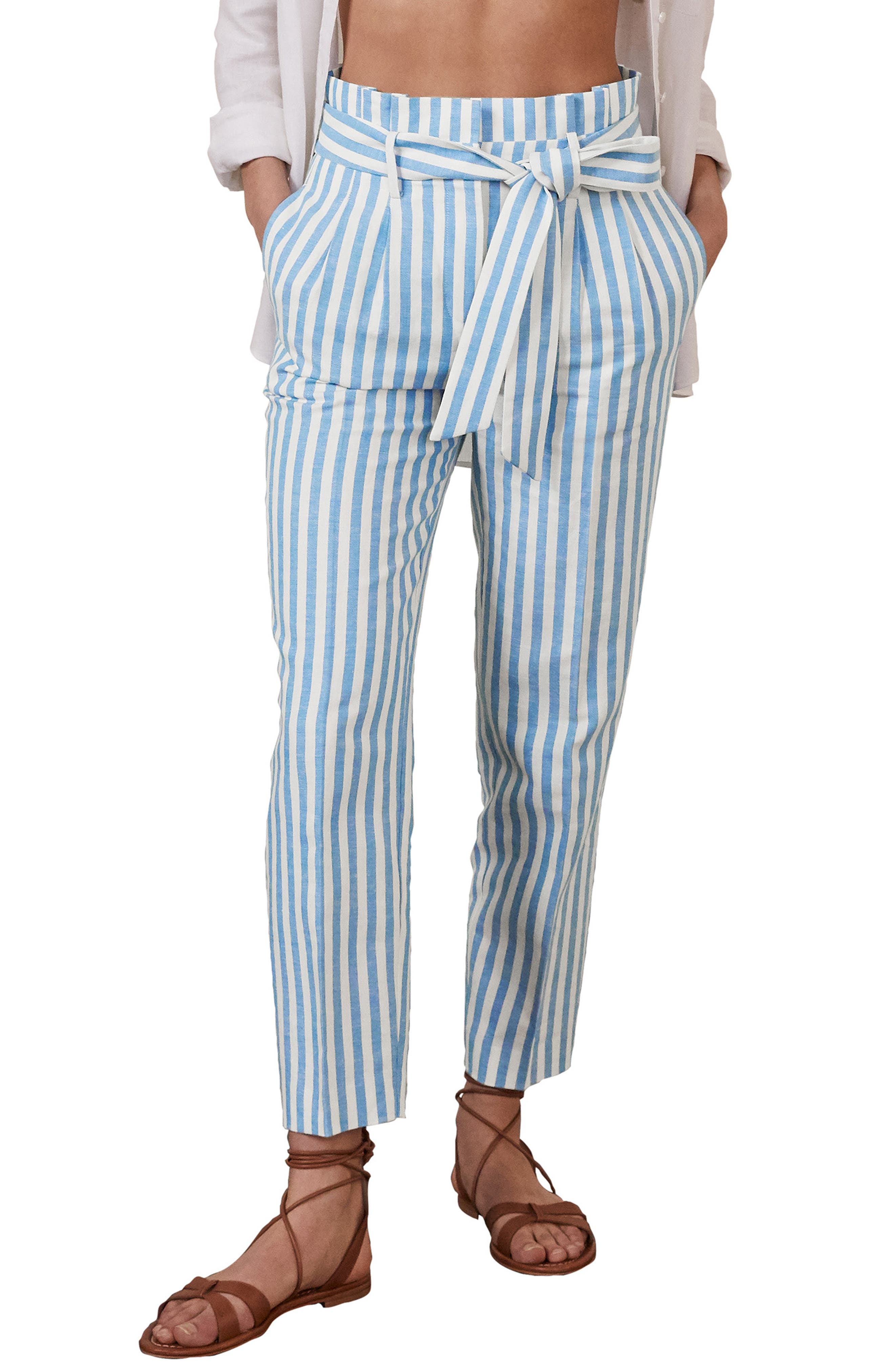 Boden Ludgate Stripe Paperbag Waist Linen & Cotton Pants