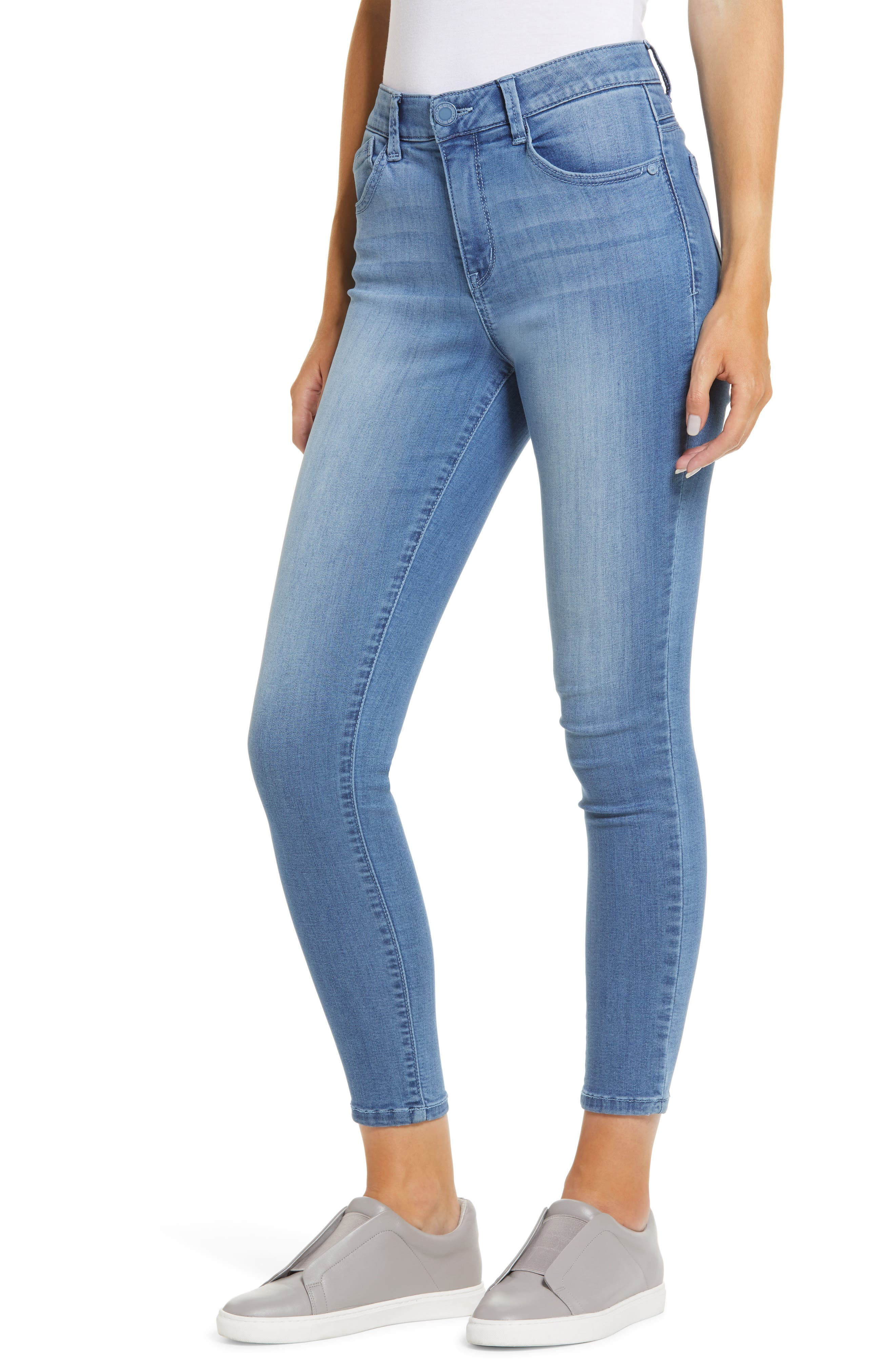 Strategic fading adds everyday appeal to ankle-length skinny jeans designed with Ab-solution power-mesh panels to slim and hold. Style Name: Wit & Wisdom Ab-Solution Luxe Touch High Waist Ankle Skinny Jeans (Nordstrom Exclusive). Style Number: 6058624. Available in stores.