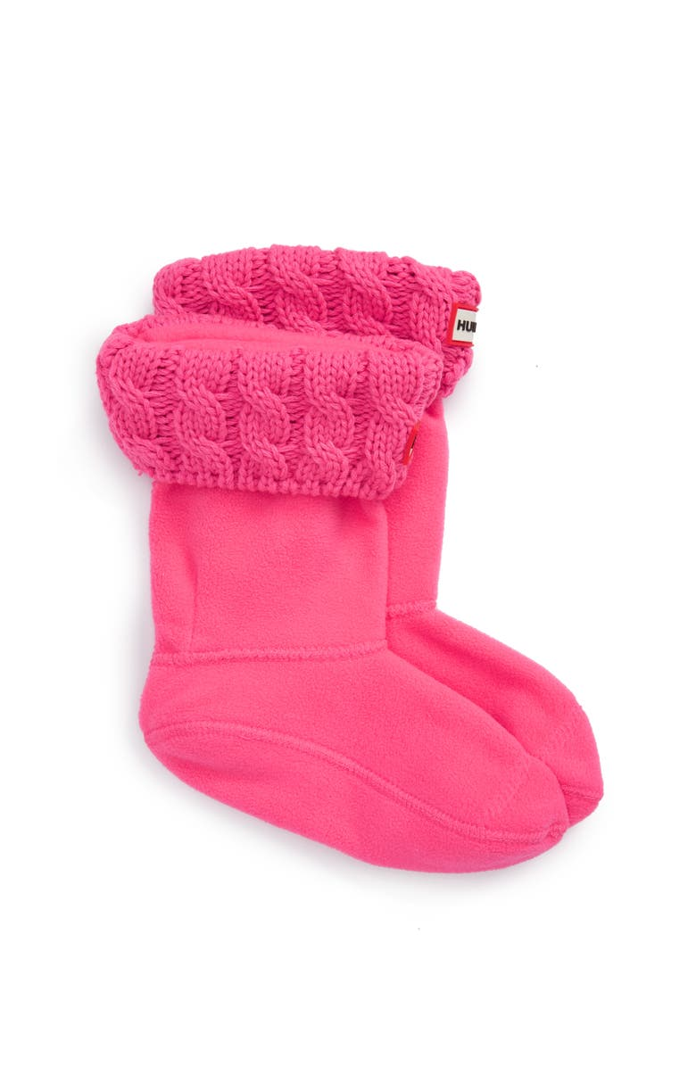 HUNTER Cable Knit Cuff Welly Boot Socks, Main, color, ION PINK