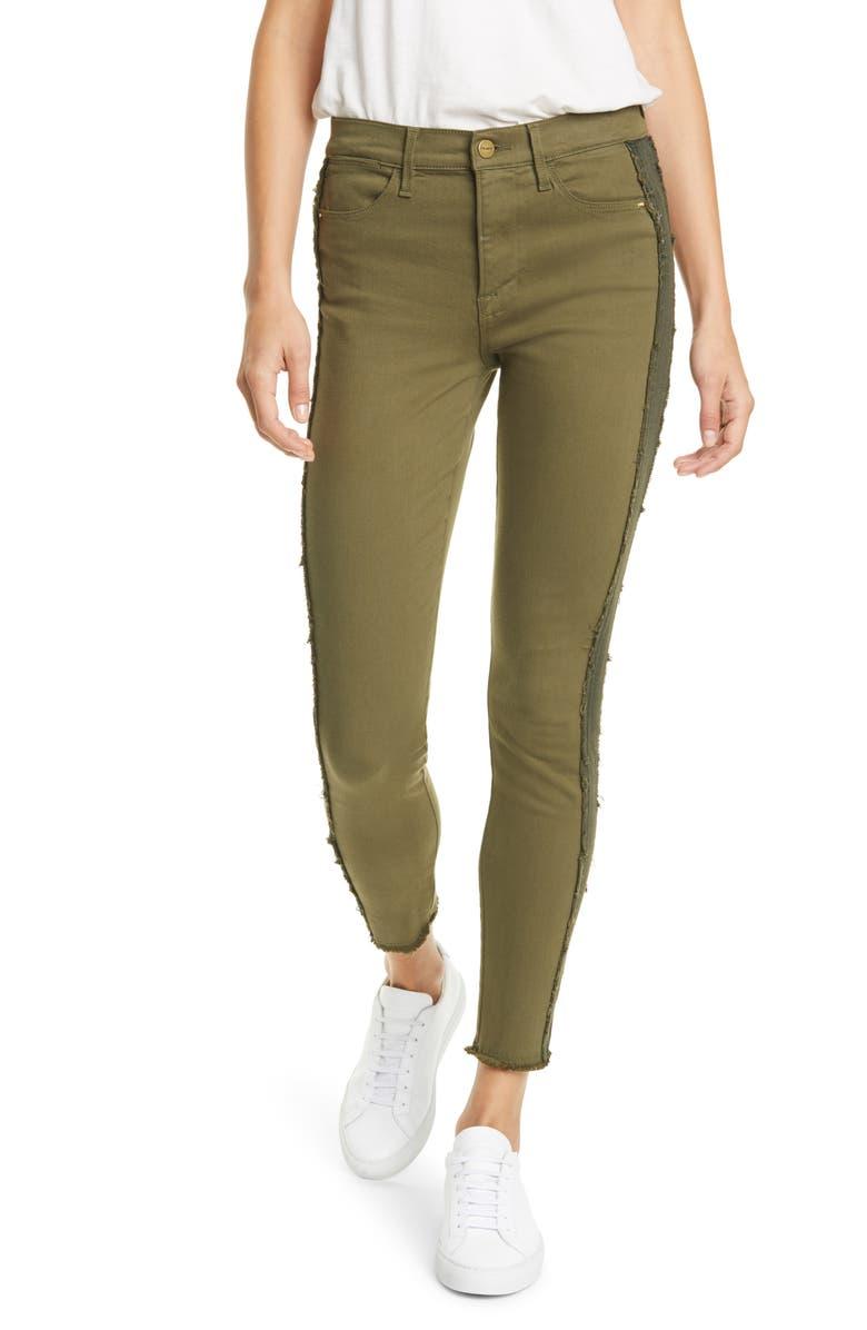 FRAME Le High Skinny Raw Edge Insert High Waist Skinny Jeans, Main, color, MILITARY