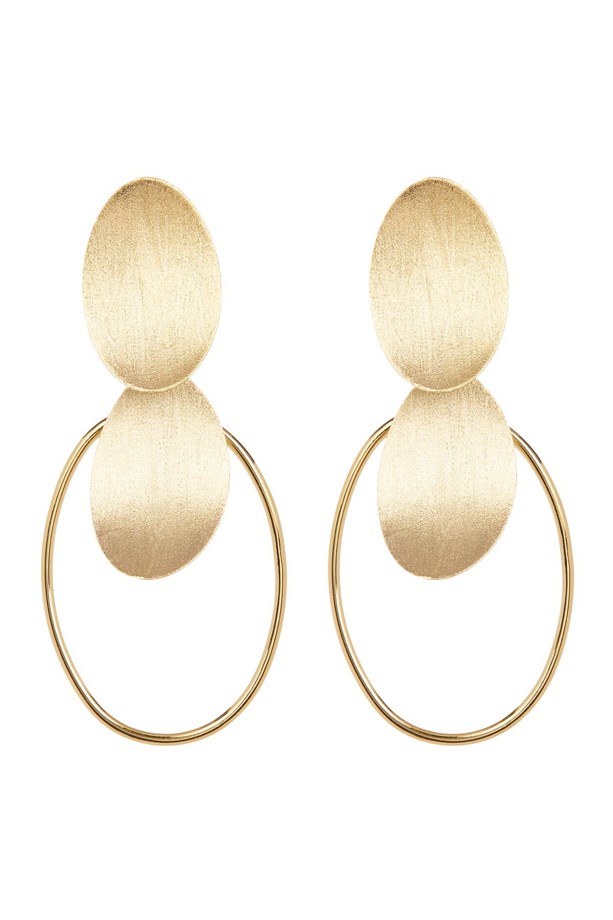 Image of Rivka Friedman 18K Gold Plated Concave Disc Cascading Dangle Earrings