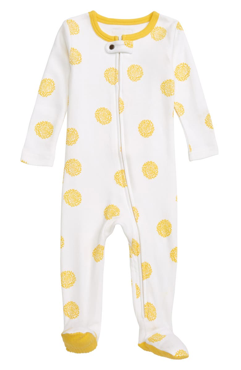 L'OVEDBABY Organic Cotton Footie, Main, color, YELLOW SUNFLOWER