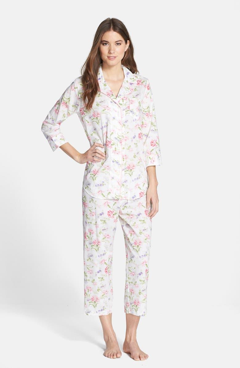 LAUREN RALPH LAUREN Cotton Lawn Capri Pajamas, Main, color, 183