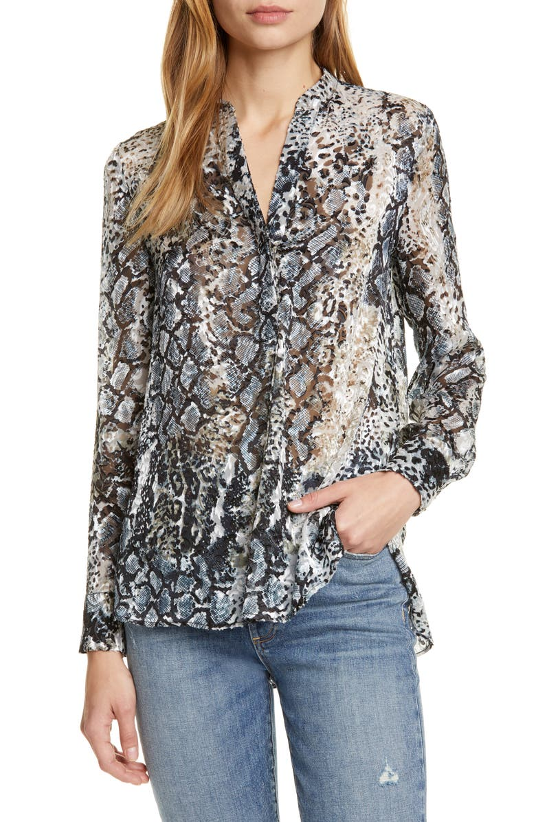 ALICE + OLIVIA Amos Burnout Animal Print Top, Main, color, 008