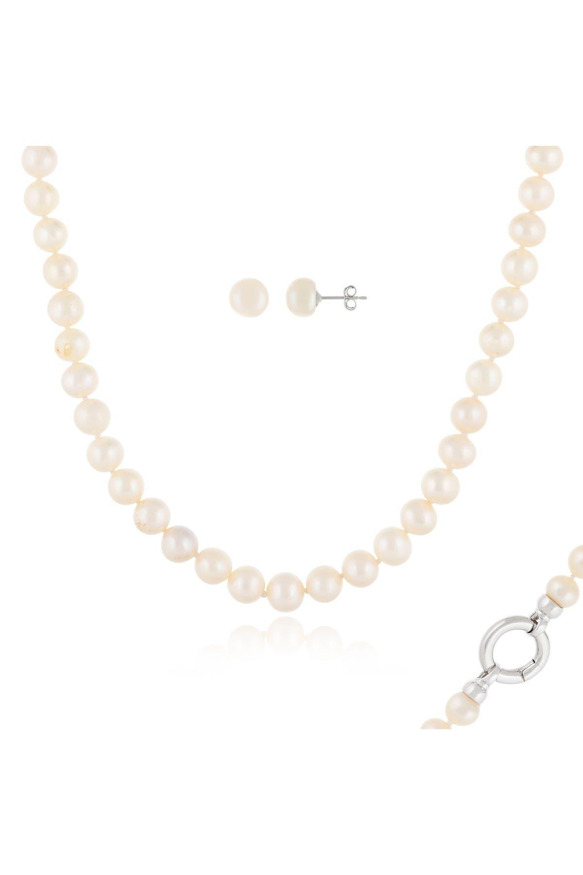 Image of Splendid Pearls 8-9mm Freshwater Pearl Stud Earring & Necklace Set