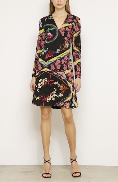 Mixed Floral Long Sleeve Wool Jersey Dress, video thumbnail