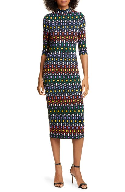 Alice And Olivia Dresses DELORA GEO PRINT FITTED TURTLENECK MIDI DRESS