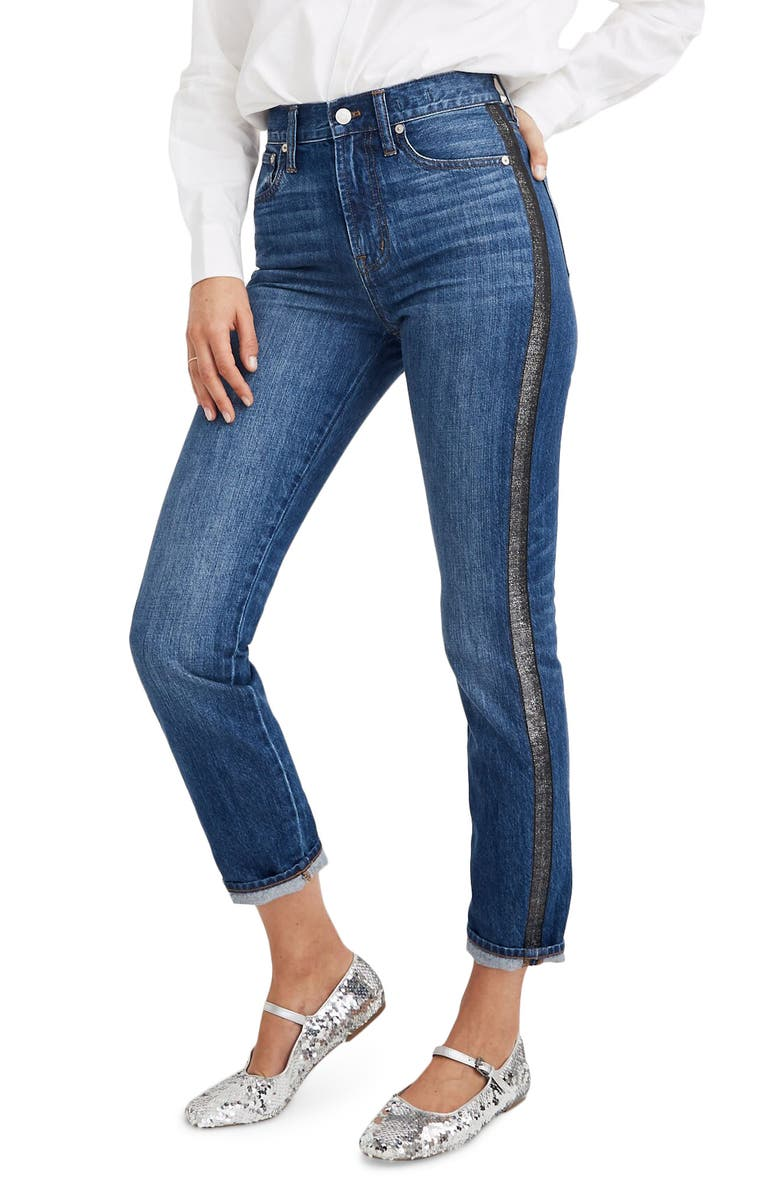 MADEWELL The Perfect Vintage Jean: Metallic Tuxedo Stripe Edition, Main, color, WELLBECK WASH