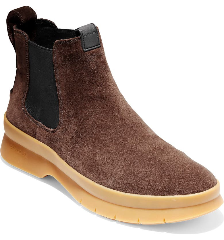 COLE HAAN Pinch Utility Waterproof Chelsea Boot, Main, color, DARK BROWN SUEDE