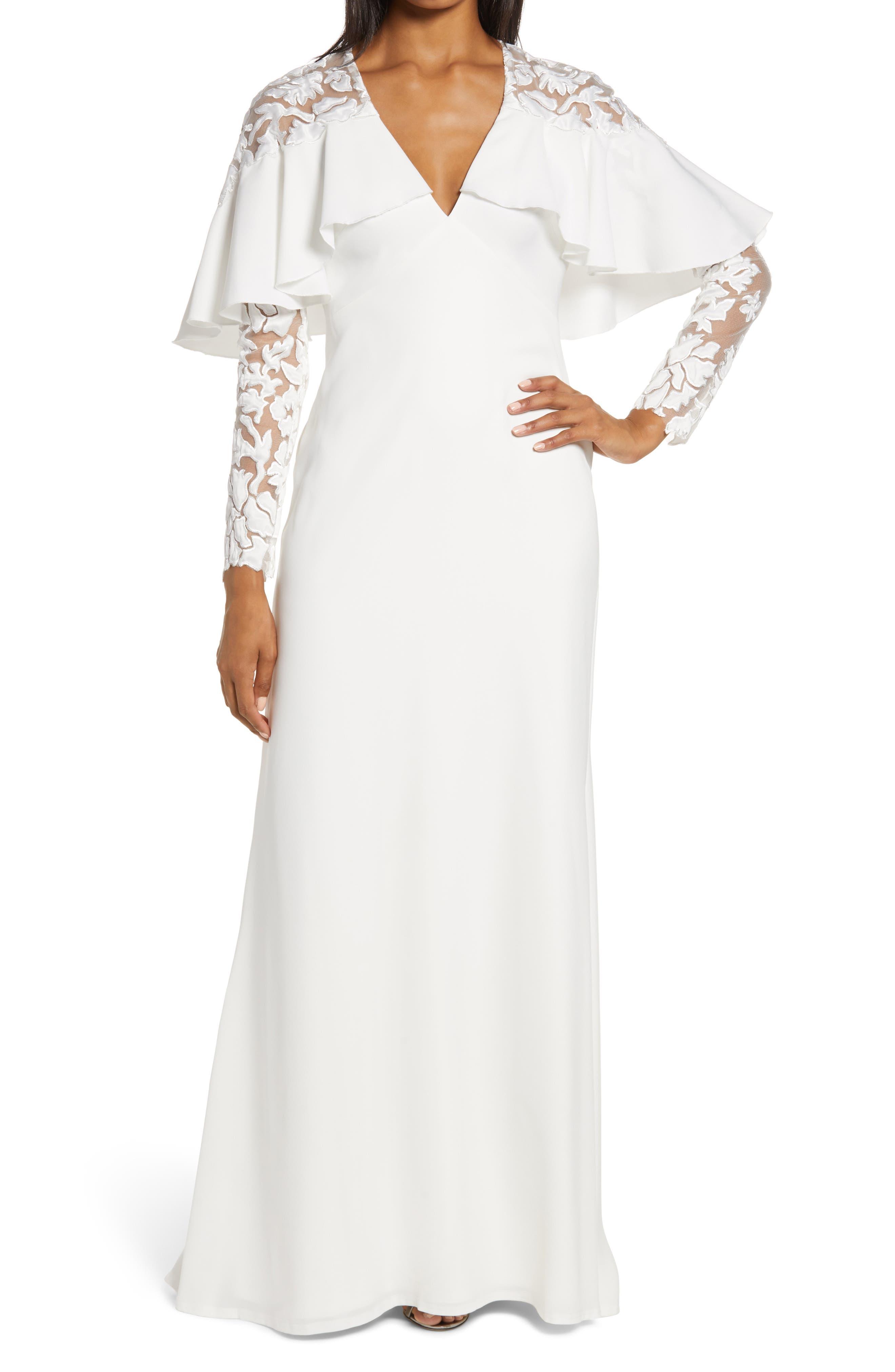 60s Wedding Dresses | 70s Wedding Dresses Womens Tadashi Shoji Capelet Long Sleeve Fit  Flare Gown $598.00 AT vintagedancer.com