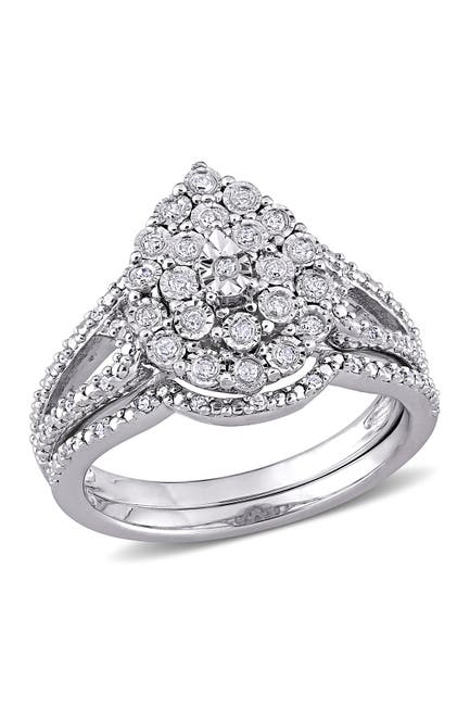 Image of Delmar Sterling Silver Pave Diamond Tear Drop Ring - 0.25 ctw