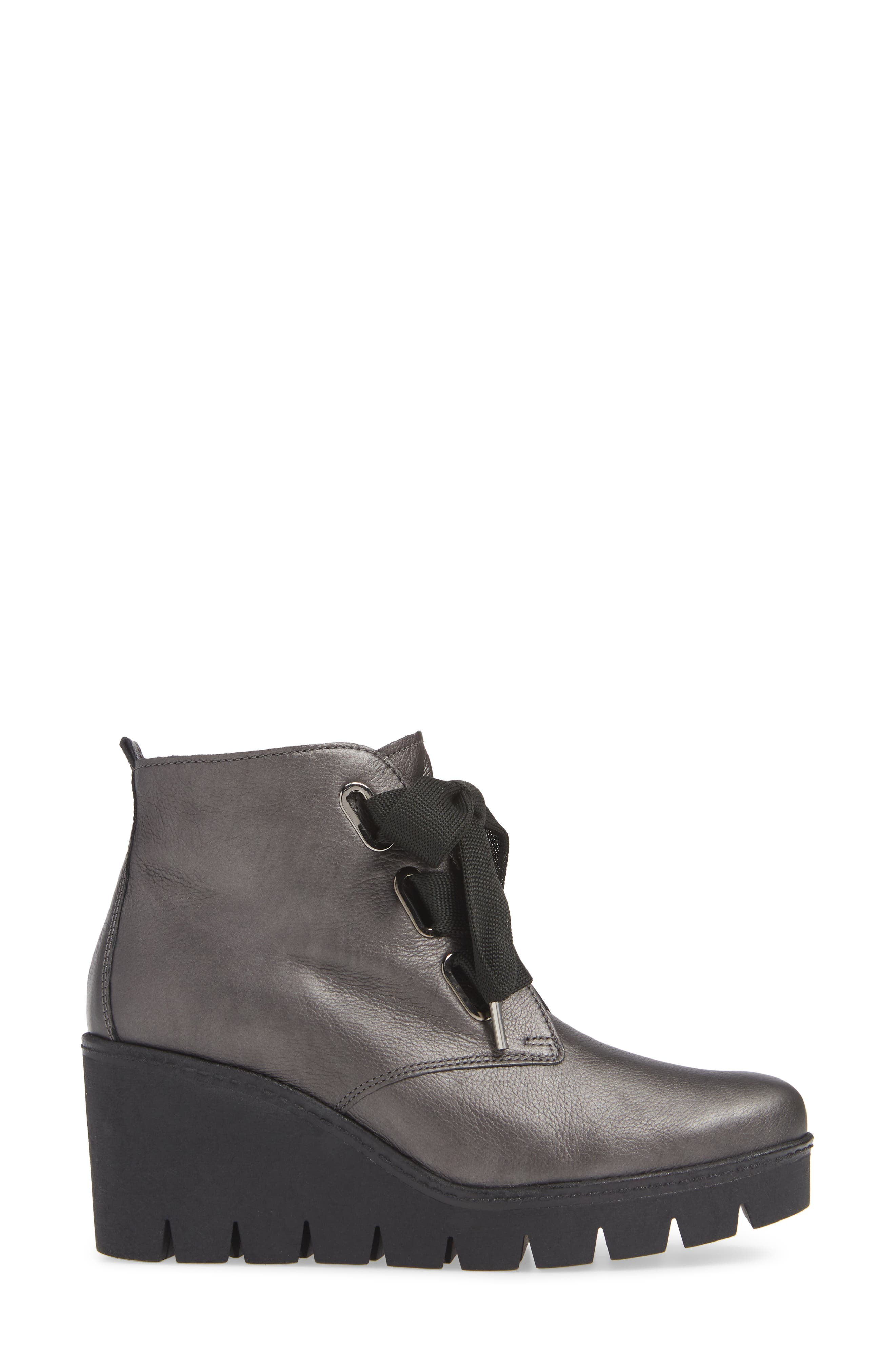,                             Friendly Wedge Bootie,                             Alternate thumbnail 3, color,                             GREY LEATHER