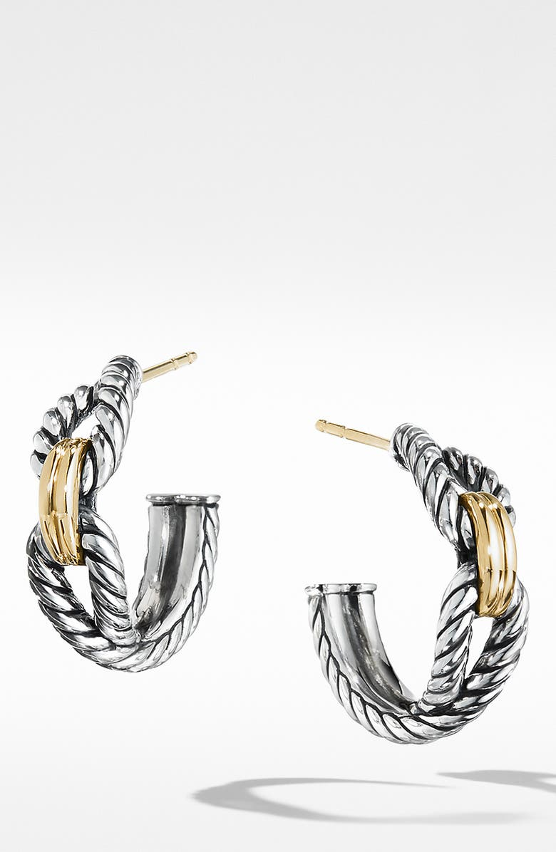 DAVID YURMAN Cable Loop Hoop Earrings with 18K Gold, Main, color, YELLOW GOLD/ STERLING SILVER