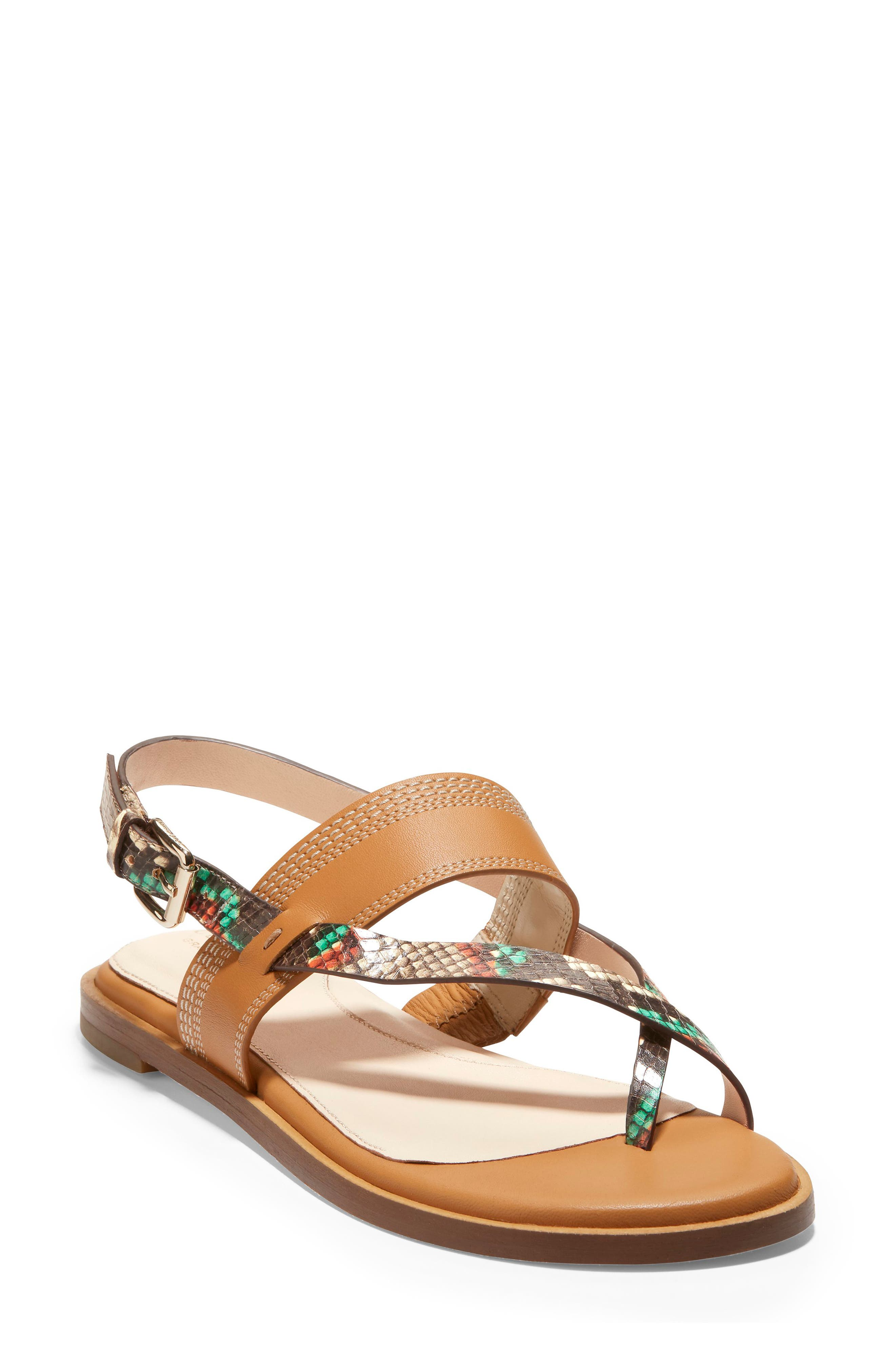 Cole Haan Sandals ANICA SNAKE EMBOSSED LEATHER THONG TOE SANDAL