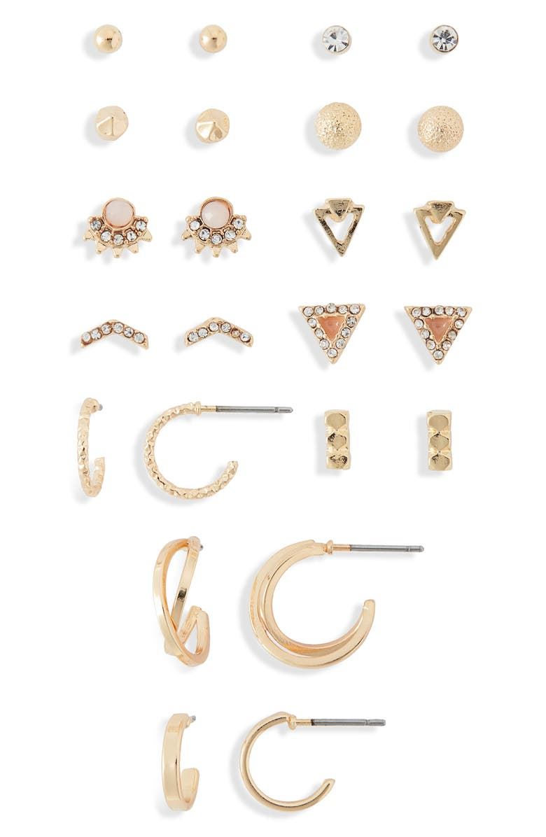 BP. Set of 12 Stud & Huggie Earrings, Main, color, CLEAR- GOLD