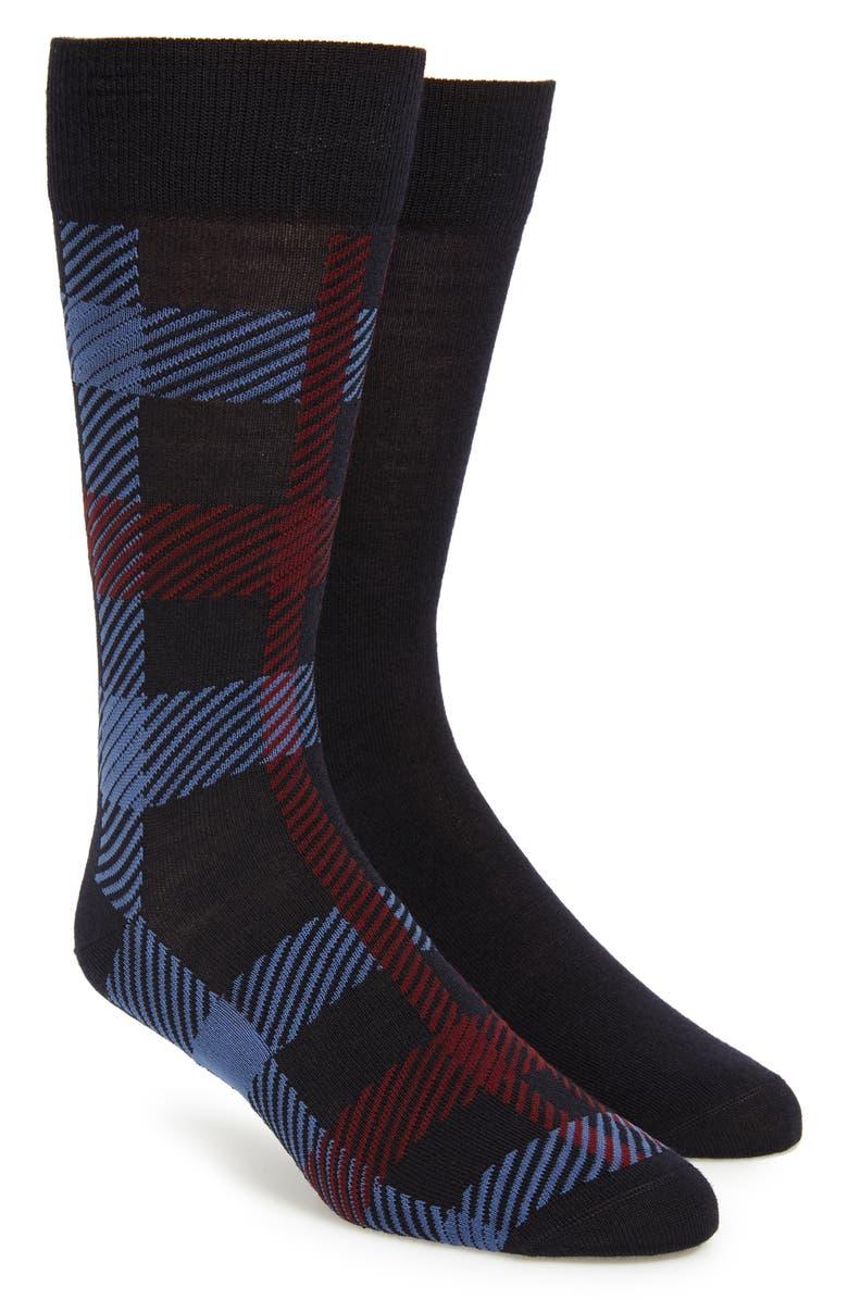 BOSS 2-Pack Check Socks, Main, color, BLUE