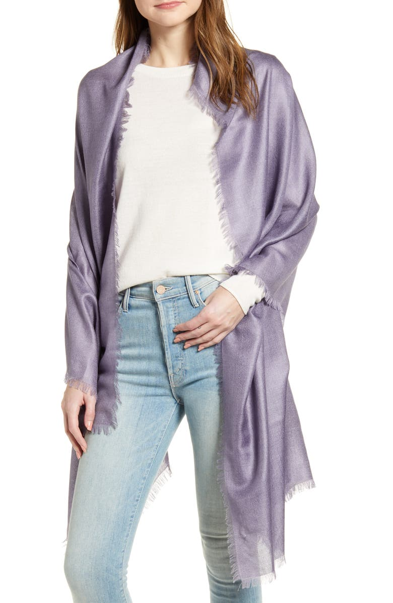 NORDSTROM Cashmere & Silk Wrap, Main, color, PURPLE CADET