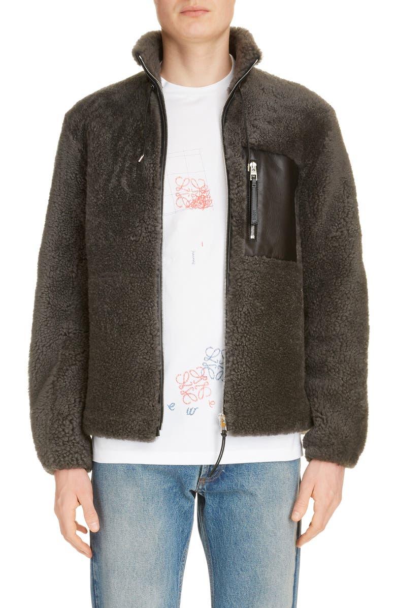 LOEWE Genuine Shearling Jacket, Main, color, GREY/ BLACK
