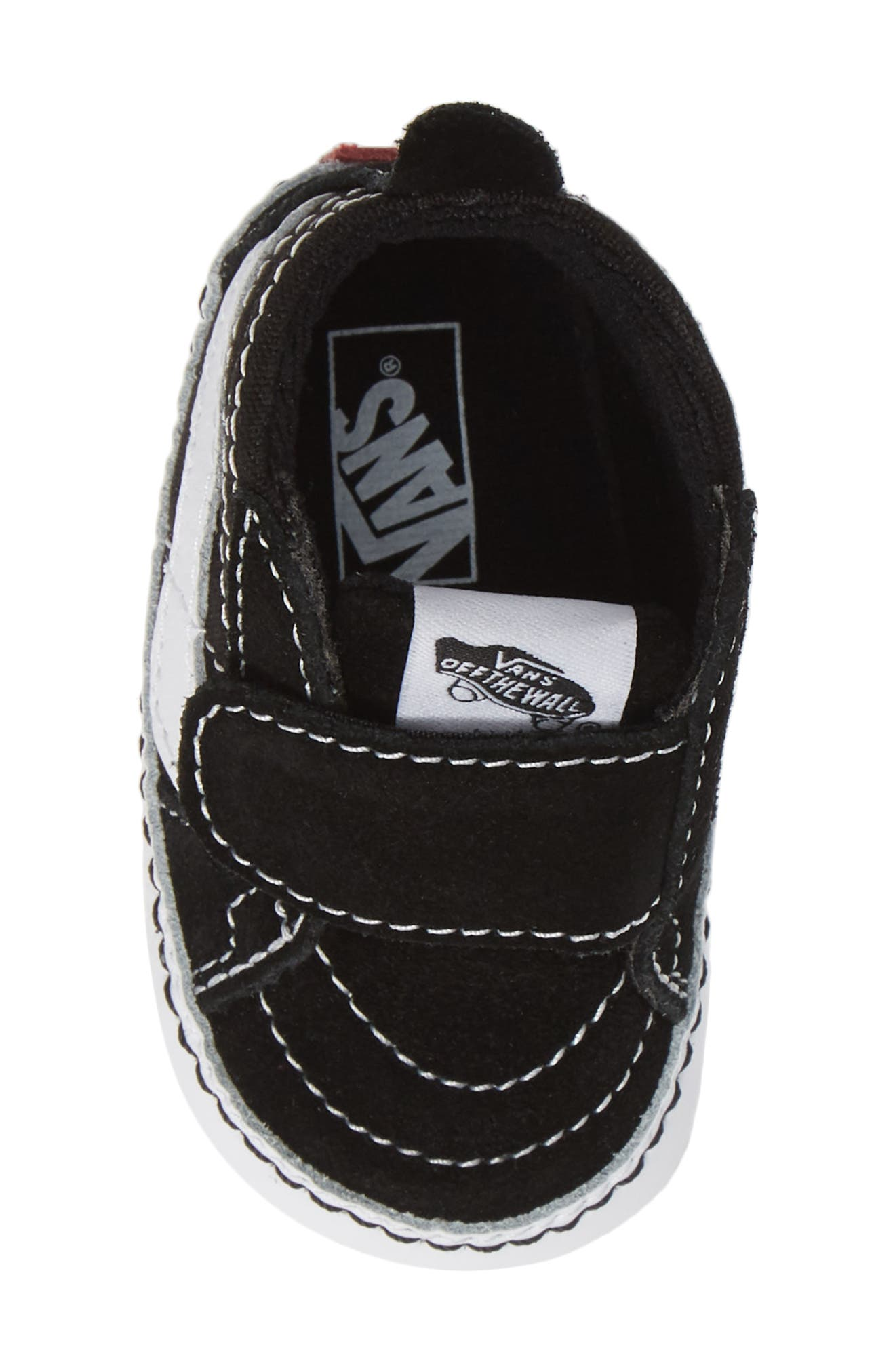 ,                             'SK8-Hi' Crib Sneaker,                             Alternate thumbnail 5, color,                             BLACK/TRUE WHITE