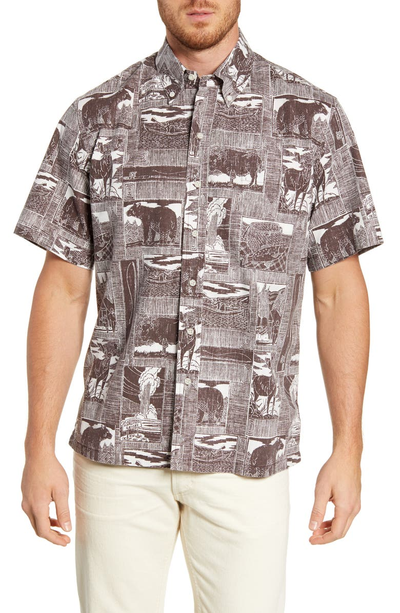 Reyn Spooner Yellowstone National Park Regular Fit Short Sleeve Button Down Shirt