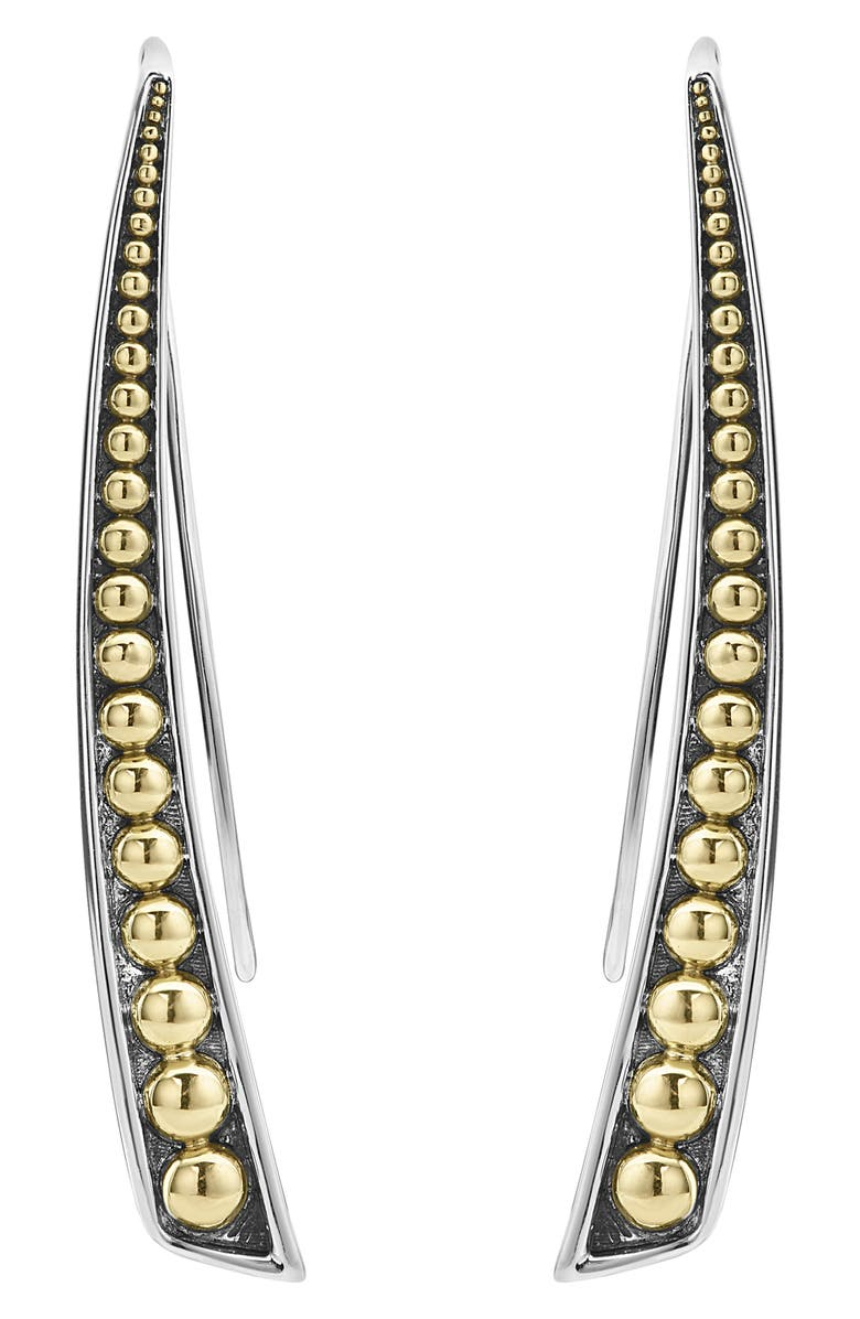 LAGOS Signature Caviar Curved Linear Earrings, Main, color, SILVER/ GOLD