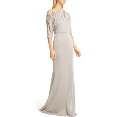 Badgley Mischka Floral Beaded Asymmetrical Shimmer Gown, Beige