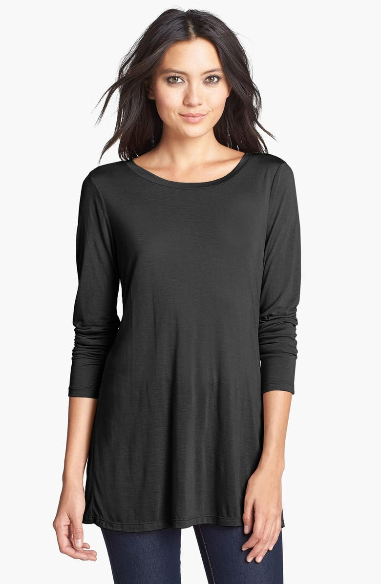 LEITH Long Sleeve Sheer Tunic, Main, color, 001