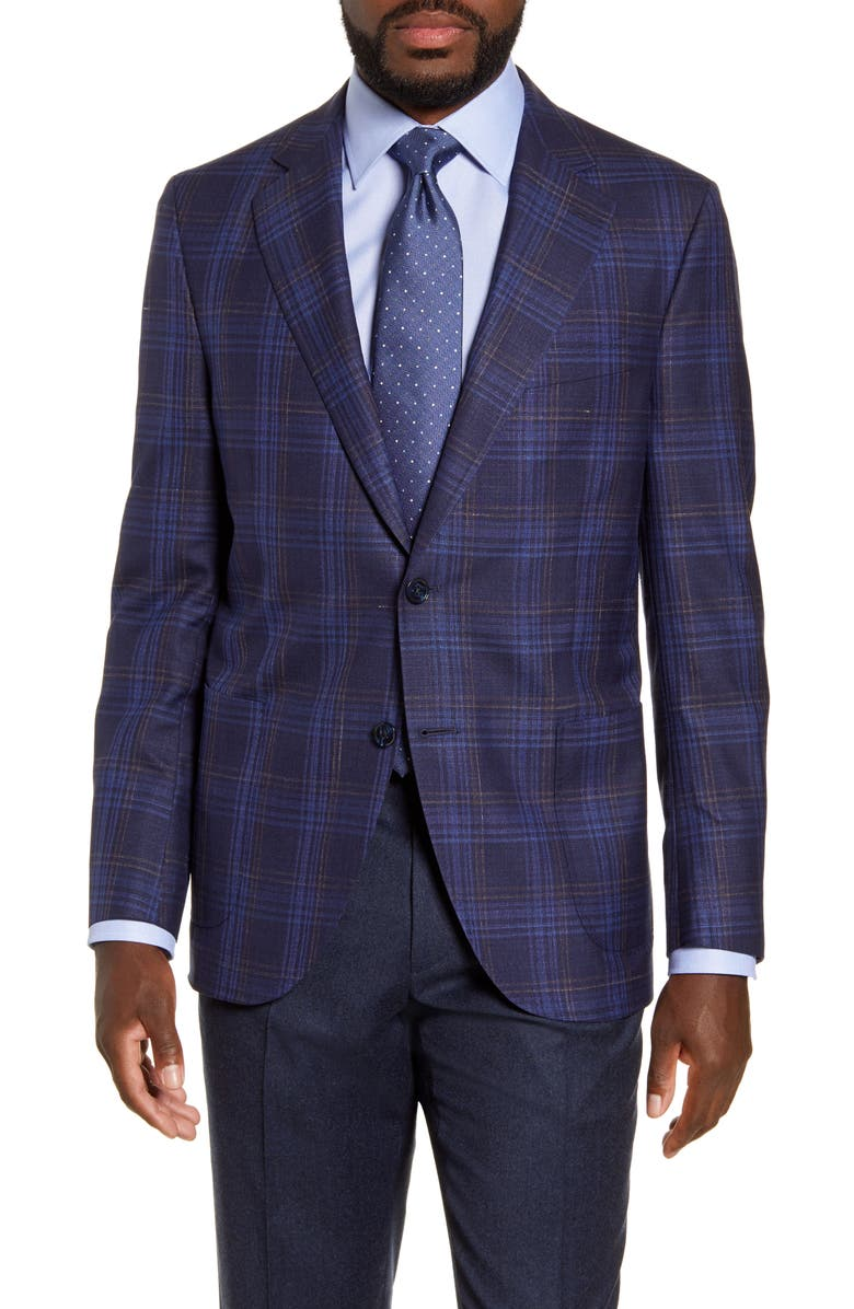 PETER MILLAR Hyperlight Classic Fit Plaid Wool Blend Sport Coat, Main, color, NAVY
