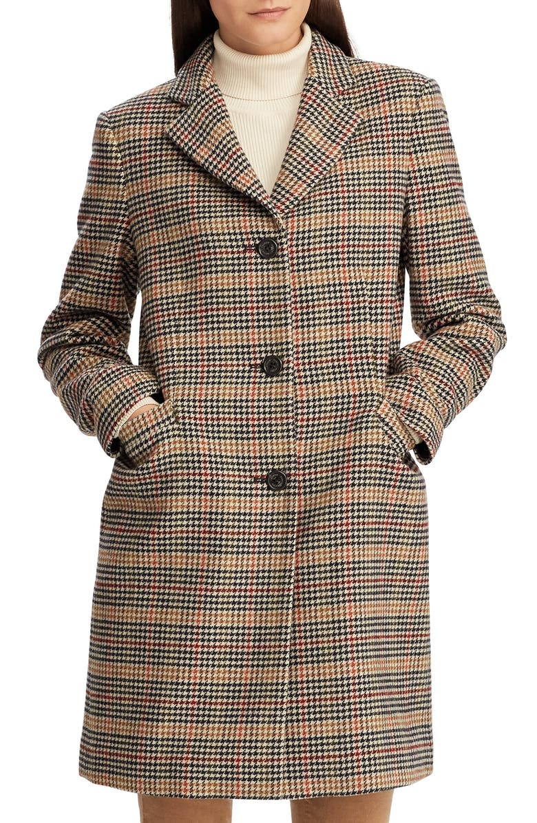 LAUREN RALPH LAUREN Wool Blend Reefer Coat, Main, color, SIENNA PLAID