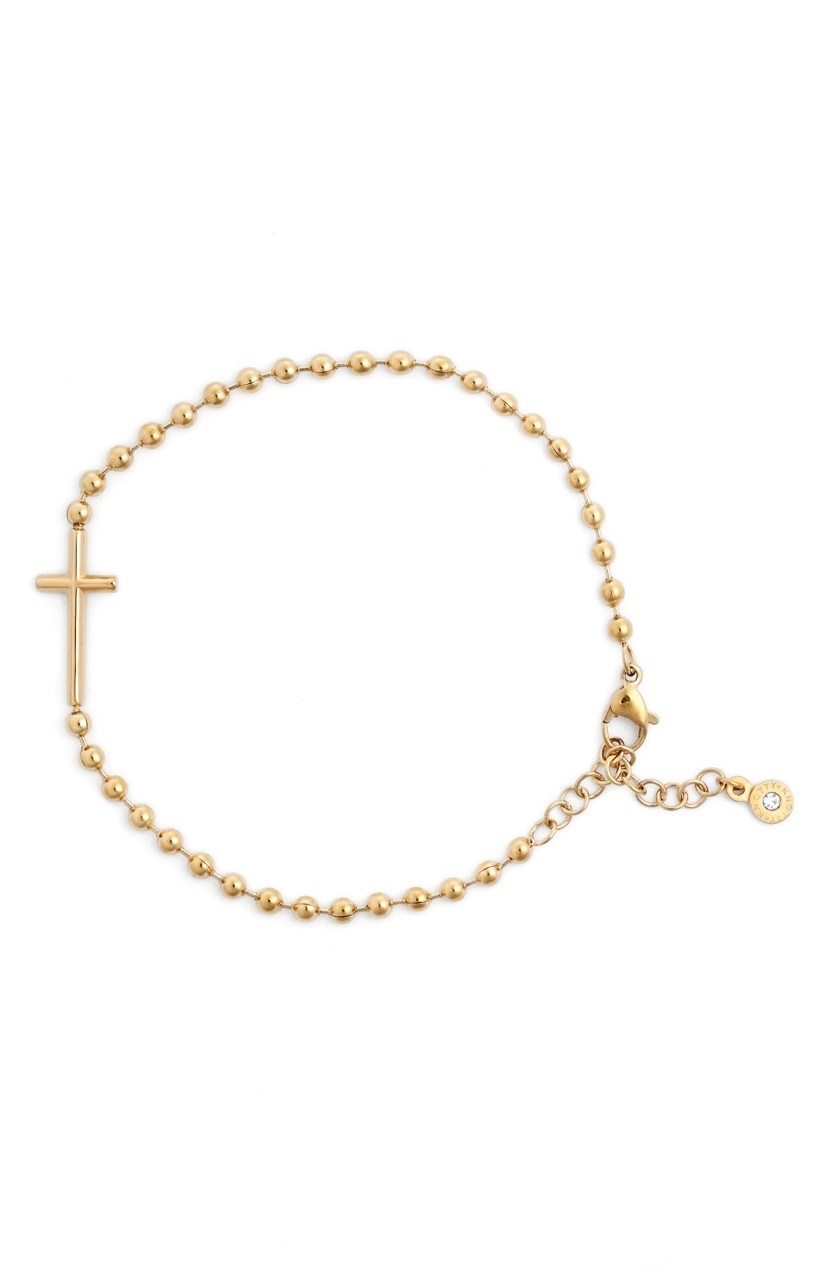 Cross Beaded Charm Bracelet