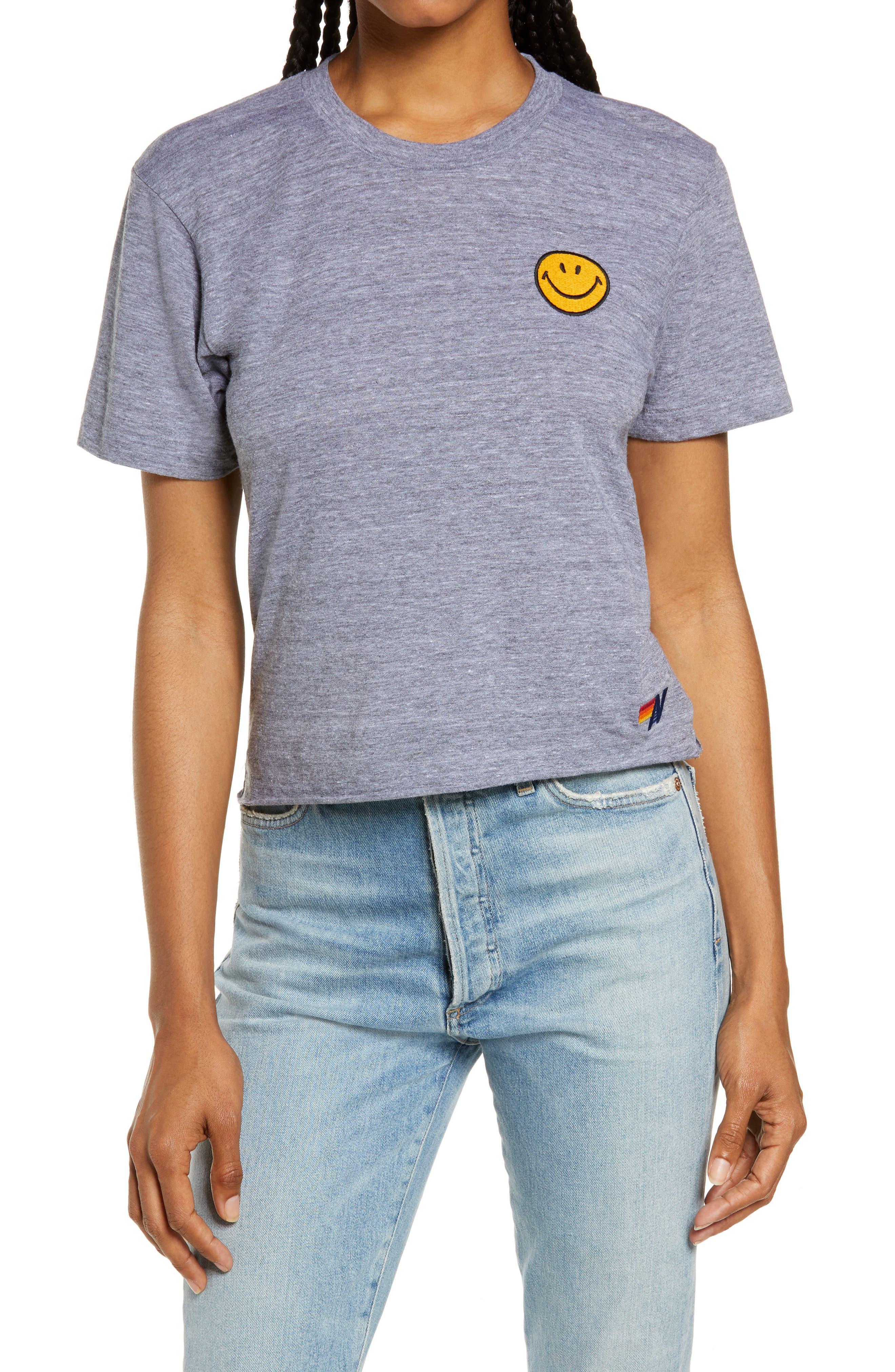 Smile Embroidered Boyfriend T-Shirt