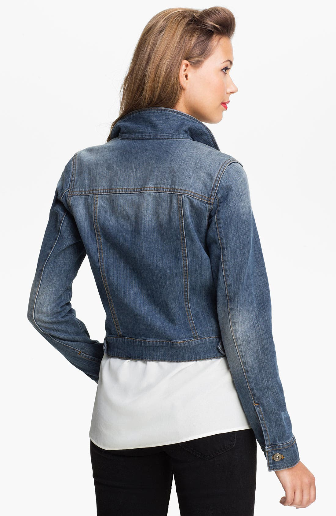 ,                             Basic Denim Jacket,                             Alternate thumbnail 3, color,                             400