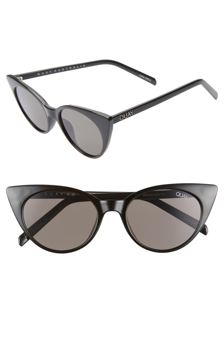 QUAY AUSTRALIA Aphrodite 53mm Cat Eye Sunglasses, Main, color, 001