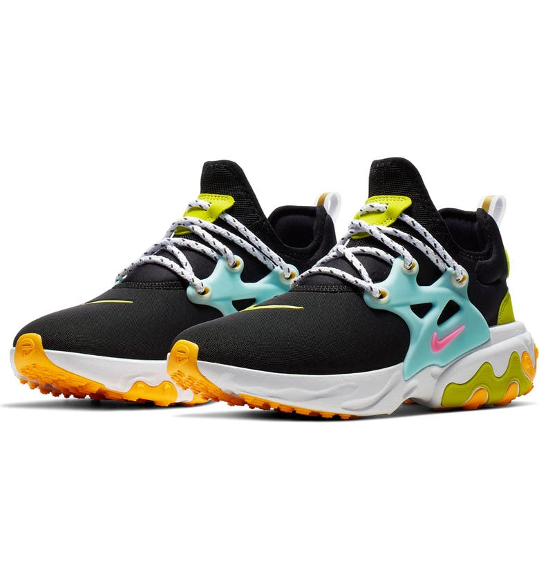 dd3cbba0aed3e Presto React Sneaker, Main, color, BLACK/ PINK/ TEAL TINT/ ORANGE