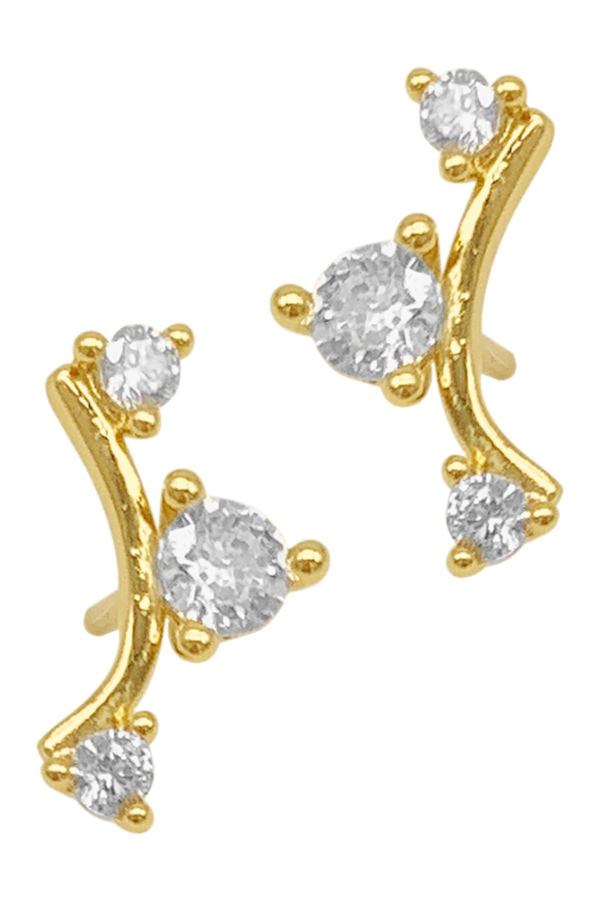 Adornia 14k Gold Plated Triple Rhinestone Climber Stud Earrings In Yellow