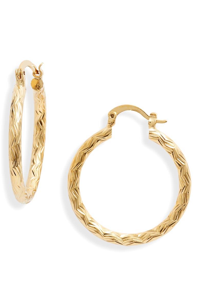 BRACHA Forgive Me Knot Hoop Earrings, Main, color, GOLD