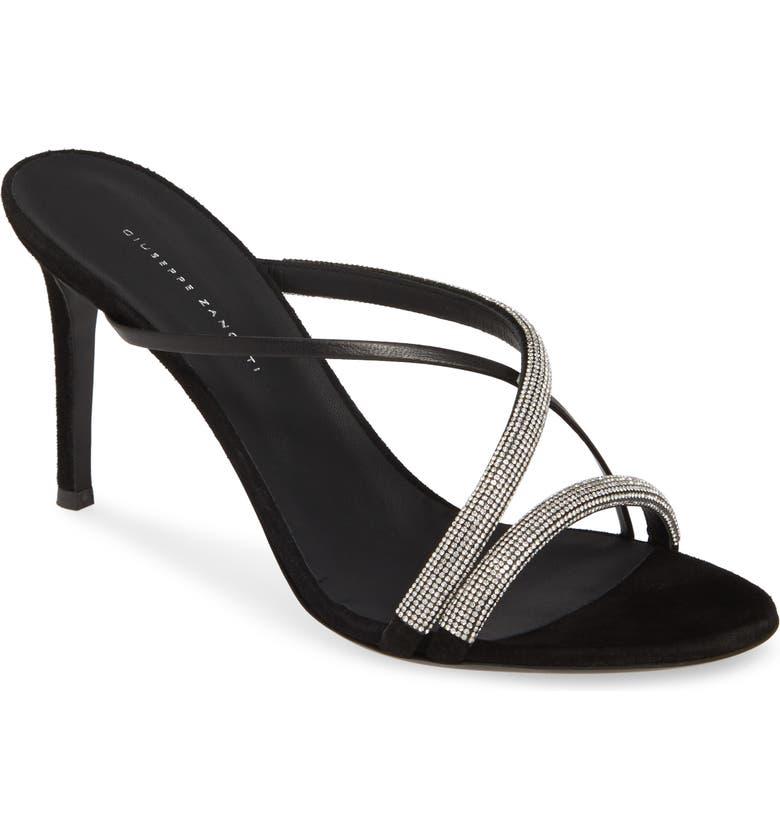 GIUSEPPE ZANOTTI Embellished Slide Sandal, Main, color, BLACK
