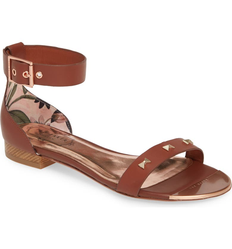 TED BAKER LONDON Ovey Sandal, Main, color, COCOA LEATHER