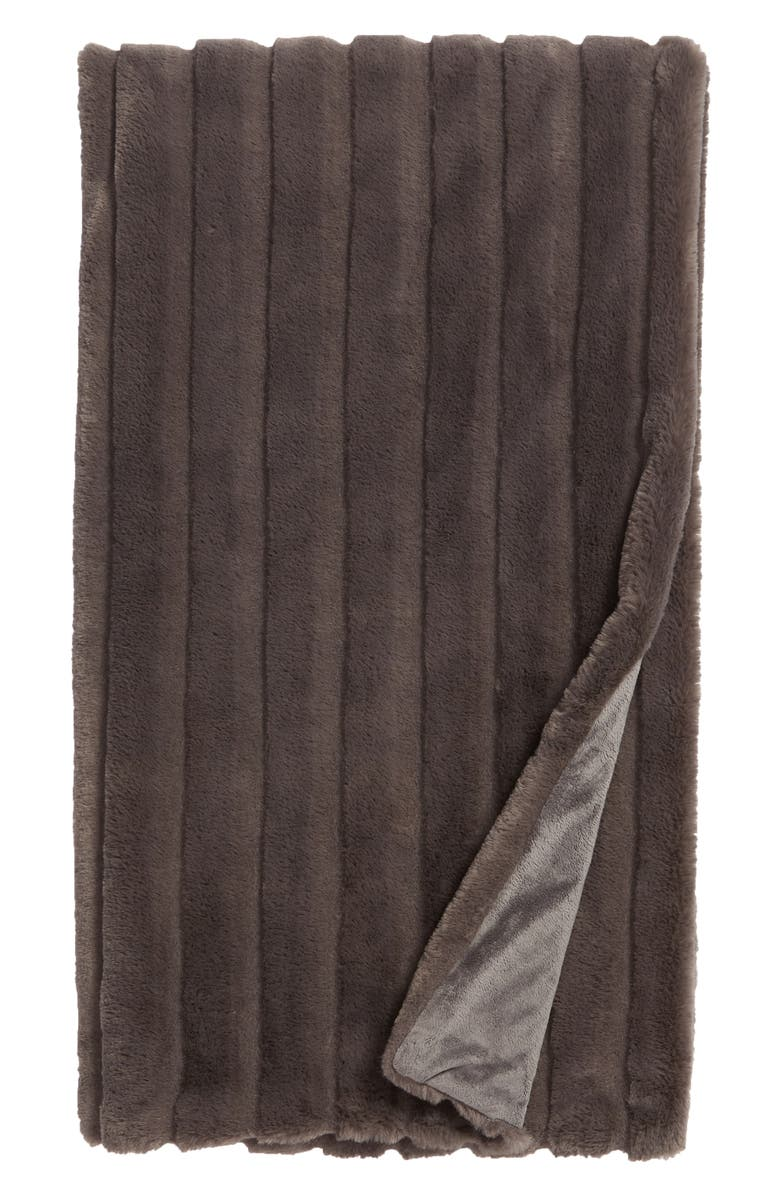 NORDSTROM AT HOME Sheared Stripe Faux Fur Throw, Main, color, 021