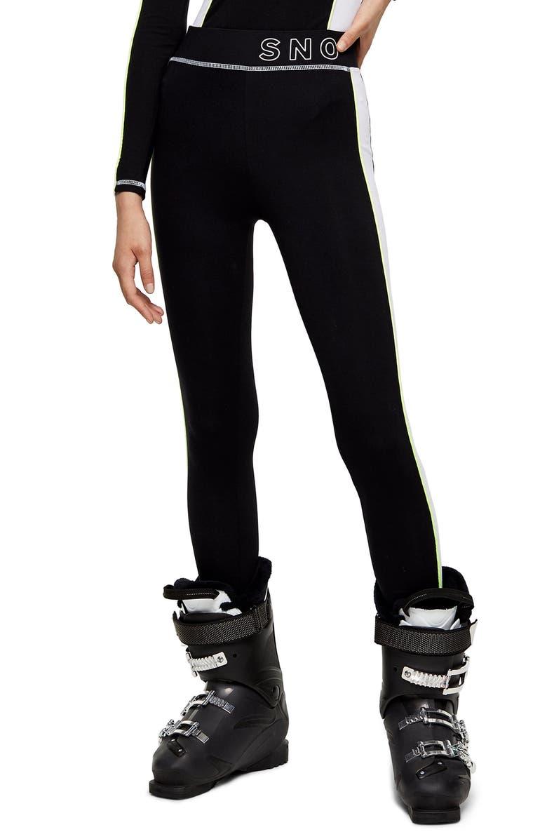 TOPSHOP SNO Thermal Ski Leggings, Main, color, BLACK MULTI